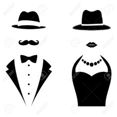 236x236 Gentleman And Lady Symbols. Man And Woman Head Silhouettes Stock
