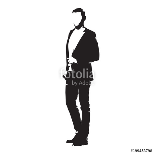 500x500 Businessman Standing In Suit, Isolated Vector Silhouette. Side