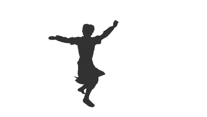 852x480 Silhouette A Man Dancing National Caucasus Dance. Dances