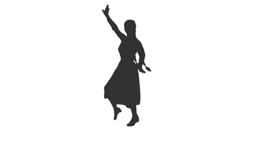 852x480 Silhouette Of Woman Performing Rumba Dance. White Background, Slow