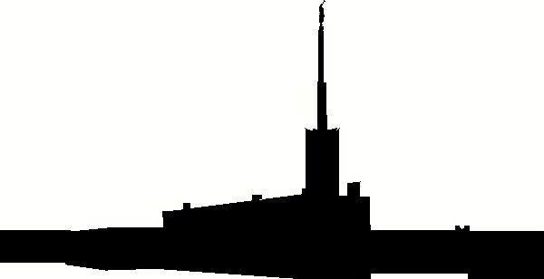 600x308 Georgia Atlanta Temple Silhouette Wall Sticker, Vinyl Decal
