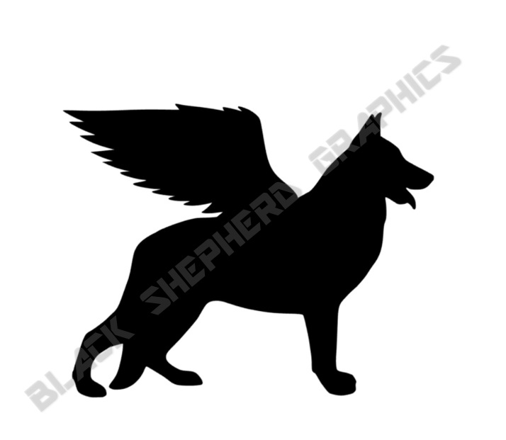 714x621 German Shepherd Angel Decal