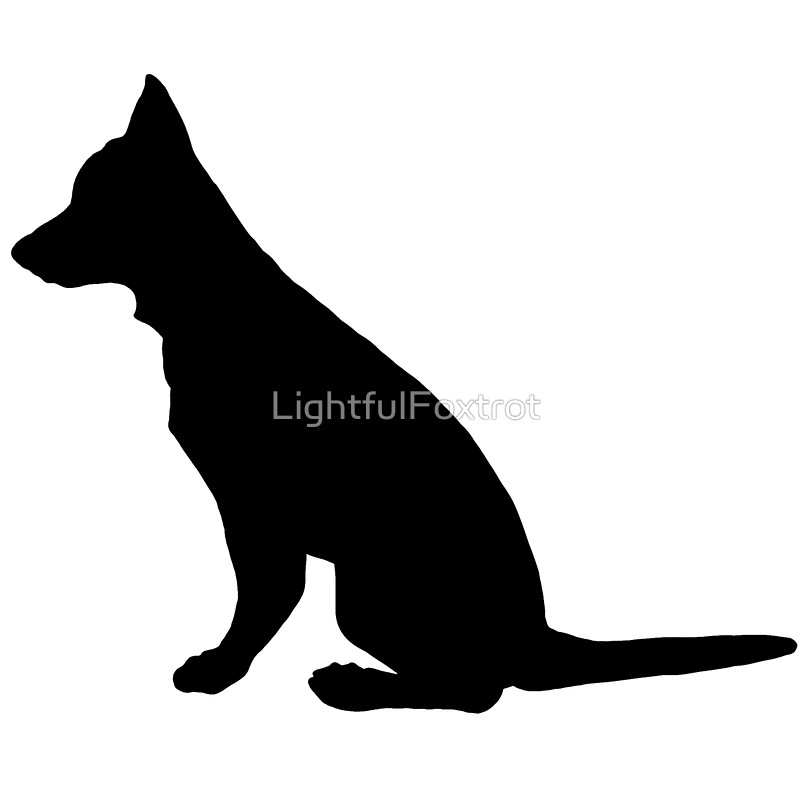 800x800 German Shepherd Dog Silhouette Stickers By Lightfulfoxtrot