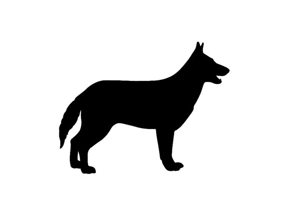 570x428 German Shepherd V4 Dog Breed Silhouette Custom Die Cut Vinyl