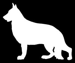 244x206 German Shepherd Silhouette White Vinyl Carlaptop