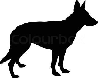 320x254 German Shepherd Dog Head, Black And White Illustration Stock
