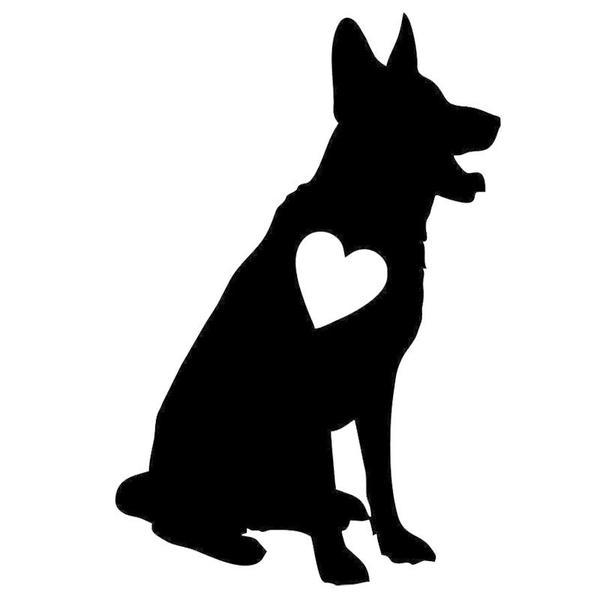 600x600 Sitting German Shepherd Heart Car Sticker The Top Dog Deals