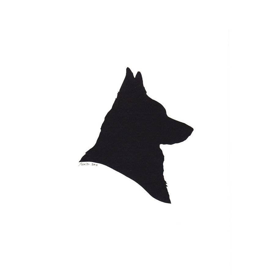 900x900 Custom Silhouette Portrait Papercutting Of A Canine Friend Dog