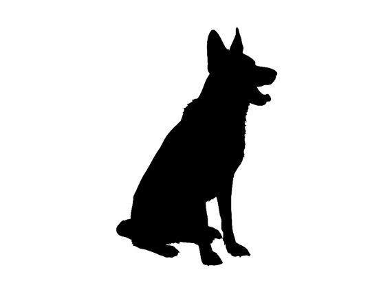 570x428 German Shepherd Dog Breed V3 Silhouette Custom Die Cut Vinyl