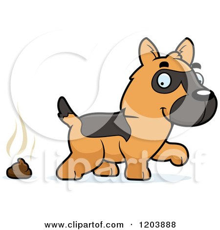 450x470 Cartoon Of A Cute German Shepherd Puppy And A Pile Of Poop