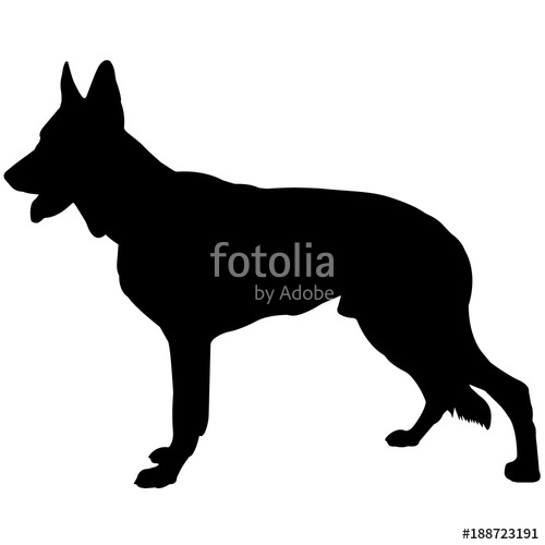 500x500 German Shepherd Dog Silhouette Vector Graphics Stock Image
