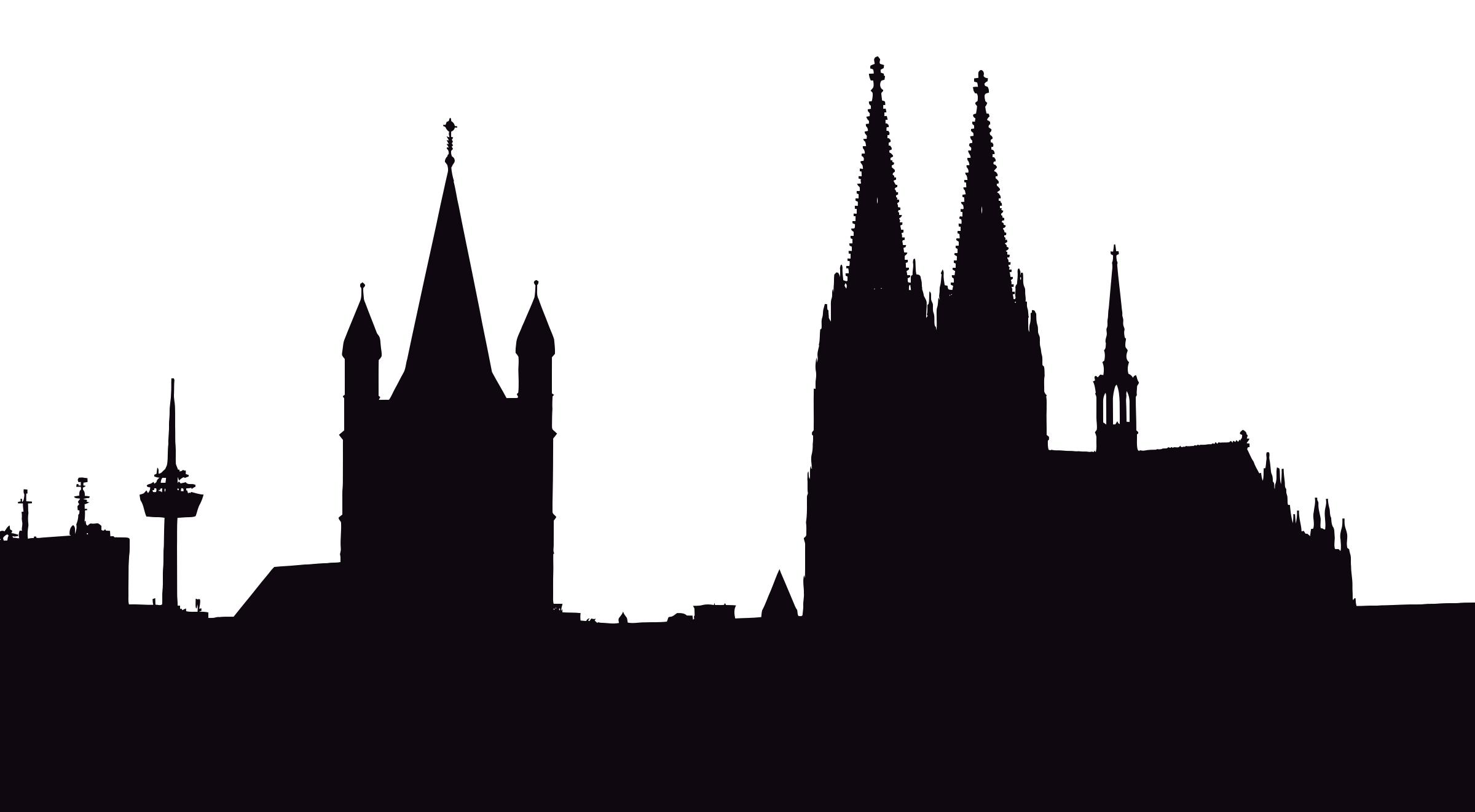 2400x1322 Cologne Germany Silhouette Clipart