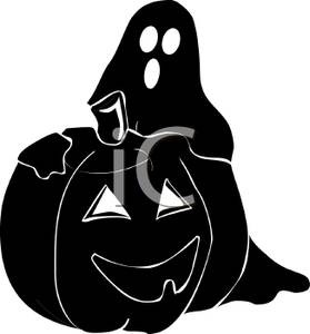 279x300 Silhouette Of A Ghost And Jack O Lantern