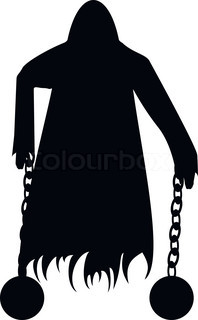 198x320 Flying Ghost Clad In Chain Silhouette Isolated On A White