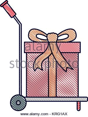 300x397 Hand Truck With Big Gift Box In Watercolor Silhouette Stock Vector