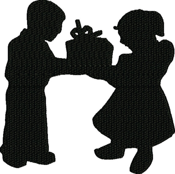 570x567 Sale 50 Off Gift , Embroidery Design A Little Boy And Girl Giving