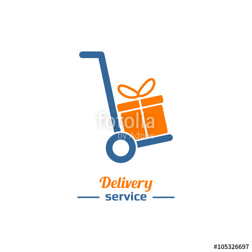 500x500 Delivery Service Logo, Hand Truck With Gift Box Silhouette Stock