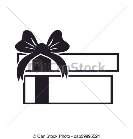 450x470 Gift Box Present Silhouette. Gift Present Box Ribbon Package