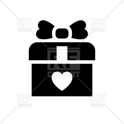 400x400 Gift Box With Heart Sign Royalty Free Vector Clip Art Image