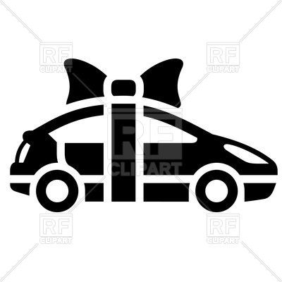 400x400 Gift Of Car Black Icon Royalty Free Vector Clip Art Image