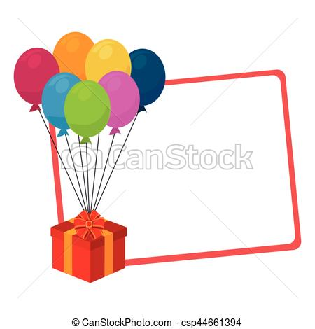450x470 Silhouette With Gift Card With Balloons And Gift Box Vector Eps
