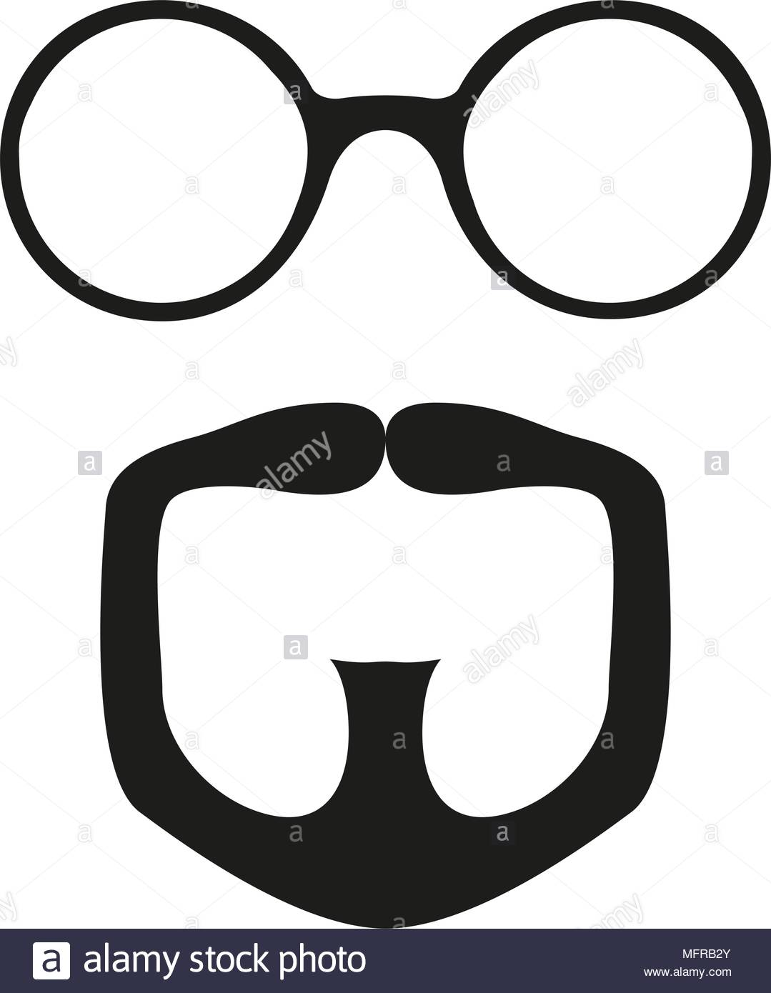 1079x1390 Black And White Goatee Glasses Silhouette Set. Fashion Vector