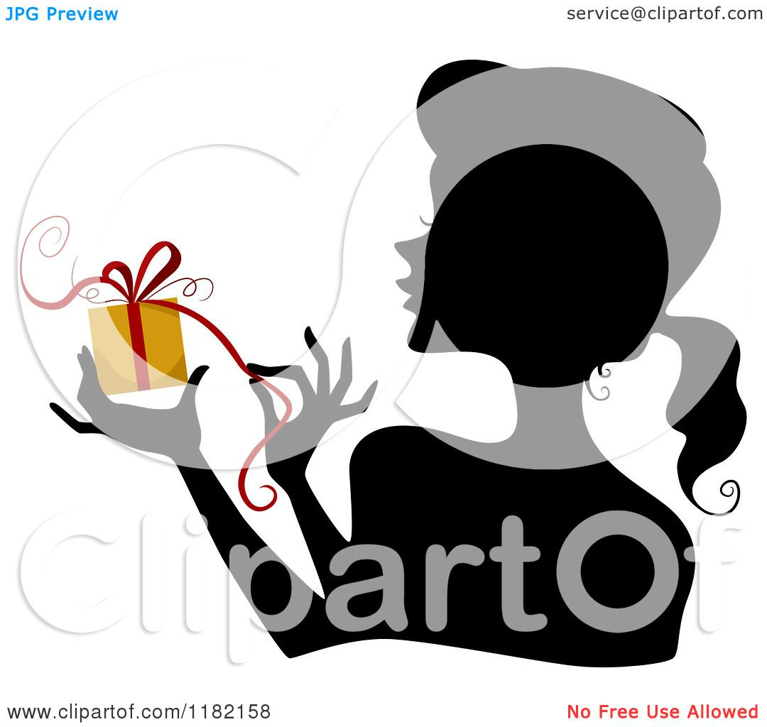 1080x1024 Cartoon Of A Black Silhouetted Woman Holding And Opening A Yellow