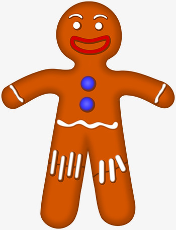 350x457 Funny Gingerbread Man, Lovely, Gingerbread, Cartoon Png Image