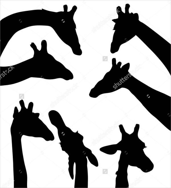 600x657 Giraffe Silhouettes