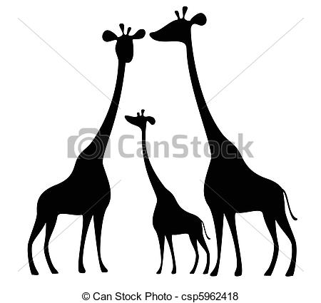 450x425 Silhouettes Of Giraffes Vector