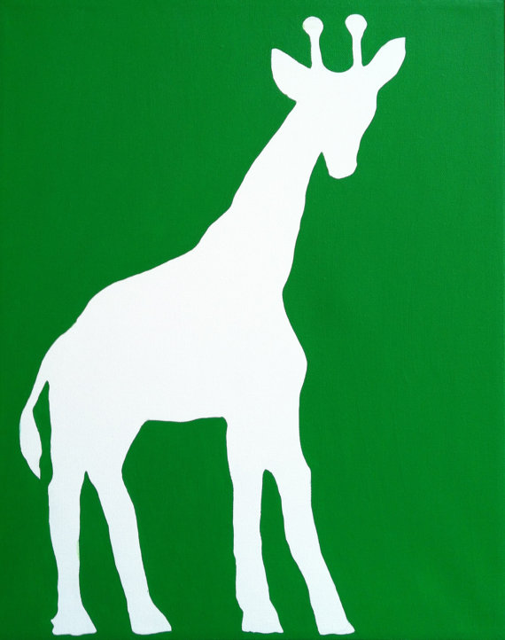 570x722 Giraffe Silhouette Painting Acrylic On Canvas 12 X