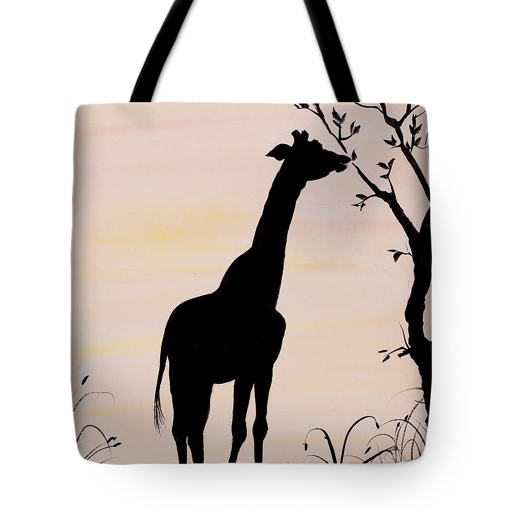 1000x1000 Giraffe Silhouette Painting By Carolyn Bennett Tote Bag For Sale