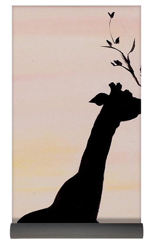 500x794 Giraffe Silhouette Painting By Carolyn Bennett Yoga Mat For Sale