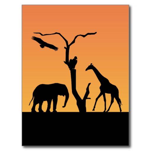 512x512 Elephant And Giraffe Silhouette