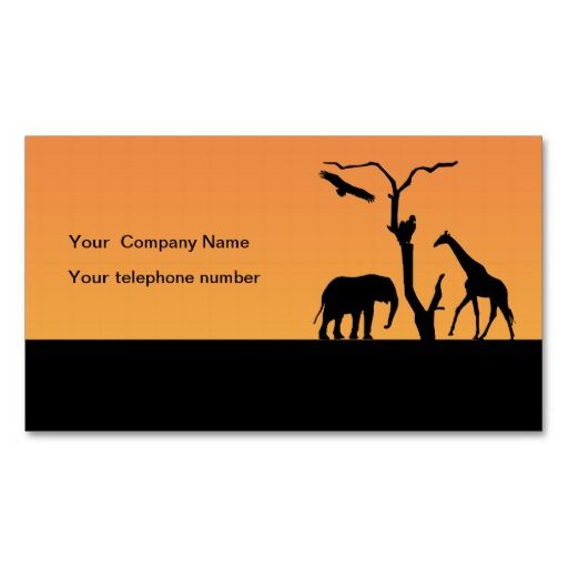 512x512 Elephant And Giraffe Silhouette Sunset In Africa Business Cards