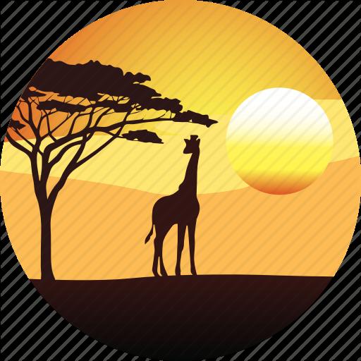 512x512 Africa, Giraffe, Horizon, Landscape, Nature, Safari, Savanah