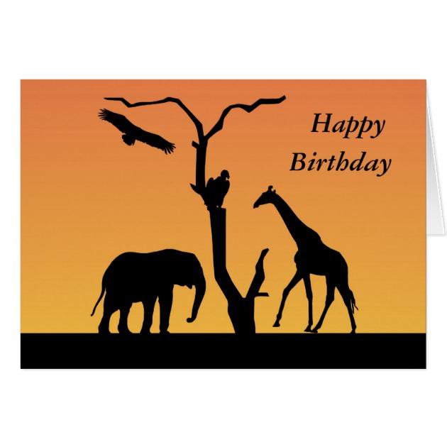 630x630 Giraffe Sunset Silhouette Happy Birthday Card