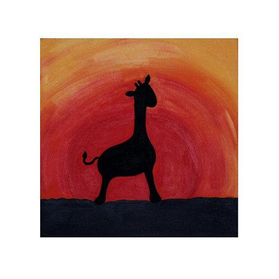 570x570 African Giraffe Silhouette Painting
