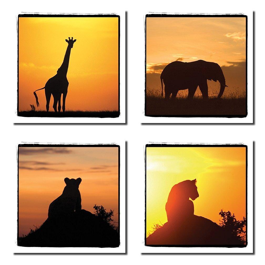 1008x1008 4 African Safari Animals Silhouettes