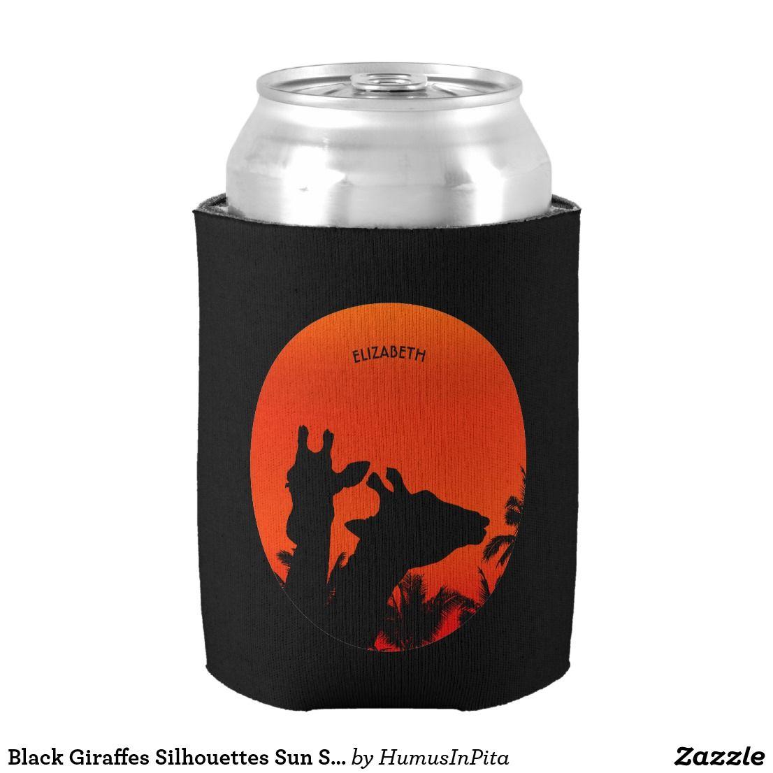1106x1106 Black Giraffes Silhouettes Sun Sunset In Africa Can Cooler Wear