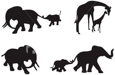 380x249 Four Different Silhouettes Of African Elephants And Giraffe
