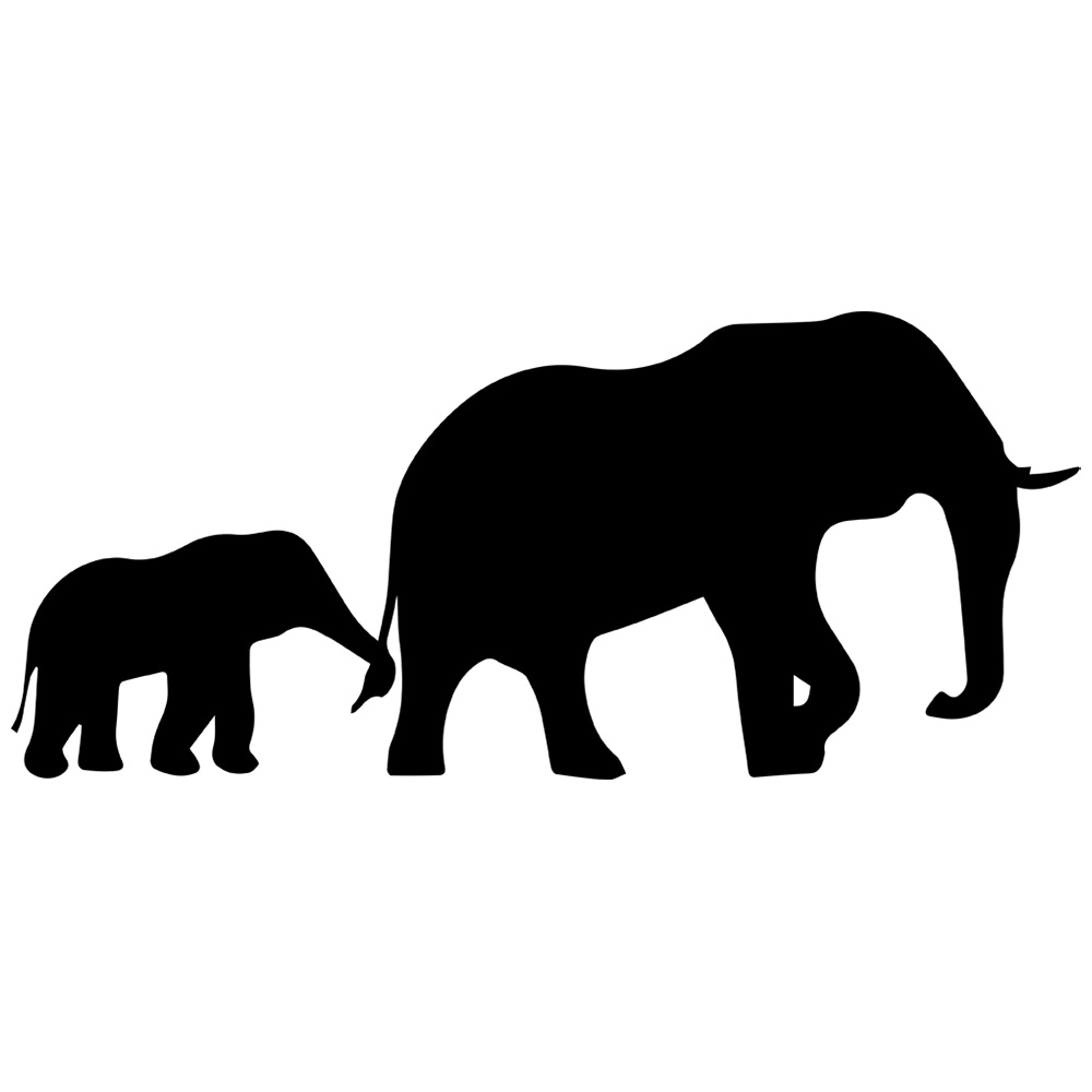 1000x1000 Mom And Baby Elephant Silhouette Tattoo