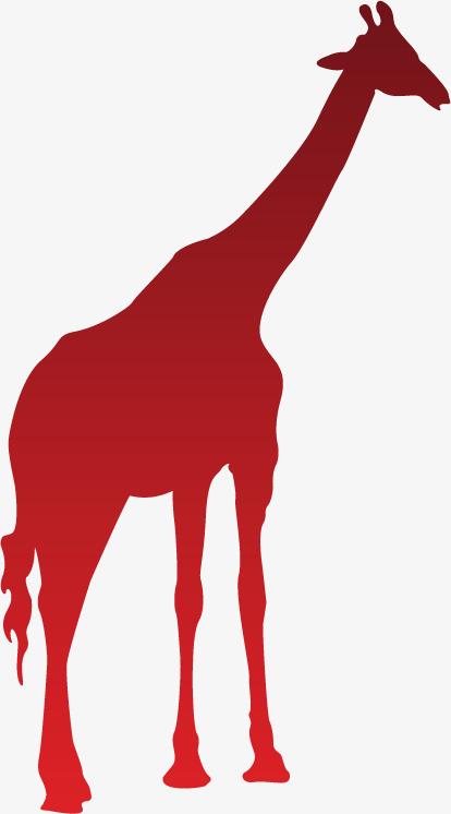 414x746 African Giraffe Silhouette Red Gradient, Giraffe, Red Silhouette