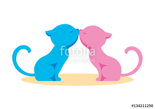 500x353 Two In Love, Enamored Cats, Boy And Girl Kissing. Blue And Pink