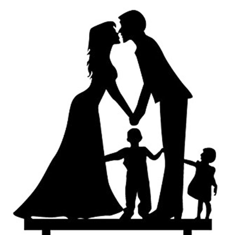 800x800 Wedding Anniversary Cake Topper Couple With Boy And Girl (Black