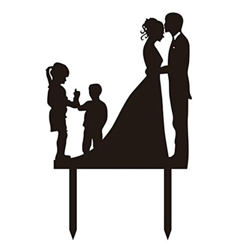 800x800 Wedding Anniversary Silhouette Family Cake Topper Couple With Girl