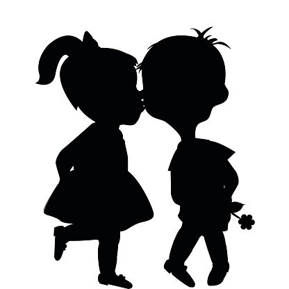 416x416 Cartoon Boy and Girl Silhouettes Kissing premium clipart