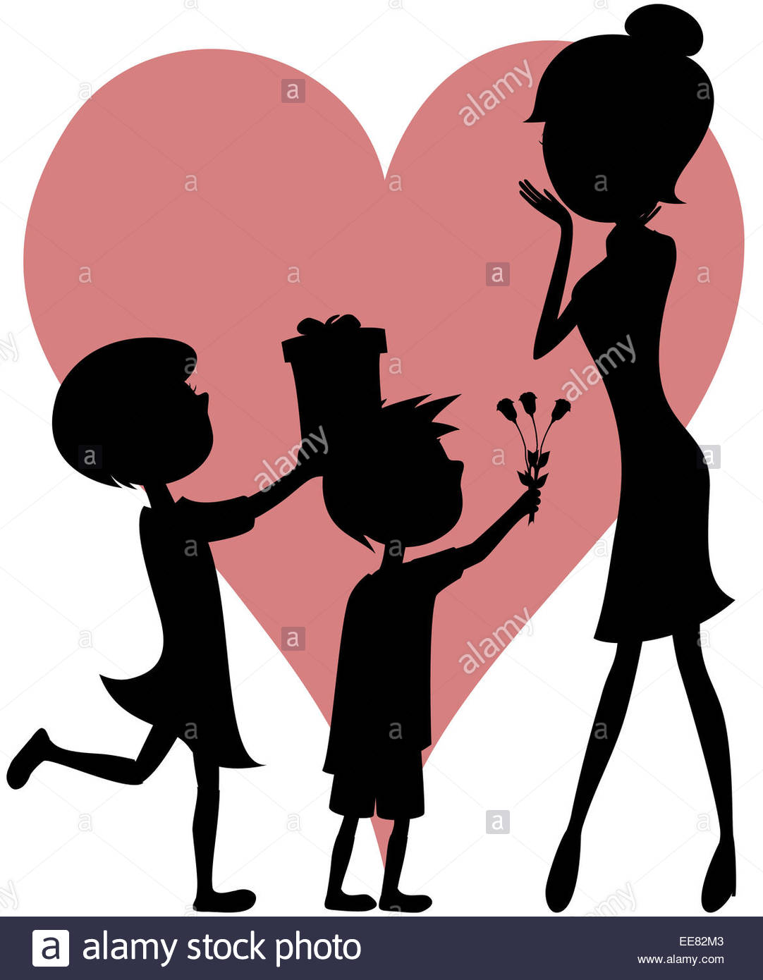 1082x1390 Cartoon style art of a girl and a boy with short hair giving a