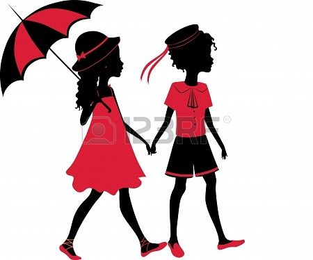 450x374 Vintage silhouette of a boy and girl walking with an umbrella