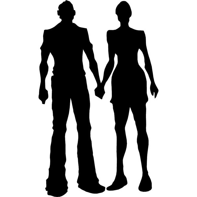 660x660 Boy And Girl Silhouette Free Vector 123freevectors